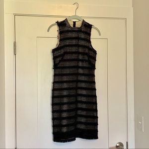 J Crew fringe black cocktail dress